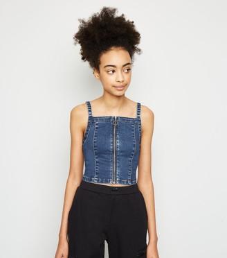 New Look Girls Denim Zip Front Top