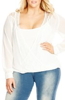 City Chic Plus Size Women's 'Lovely' Lace Inset Deep V-Neck Top & Camisole