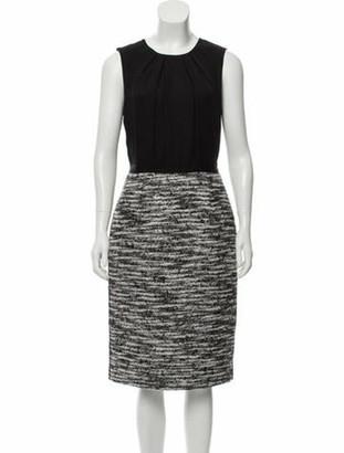 Oscar de la Renta Silk Midi Dress Black