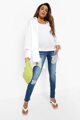 boohoo Maternity Rip Skinny Over The Bump Jean