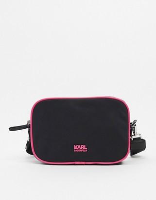 Karl Lagerfeld Paris logo strap crossbody bag in black