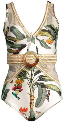PatBO Tropical Belted One-Piece