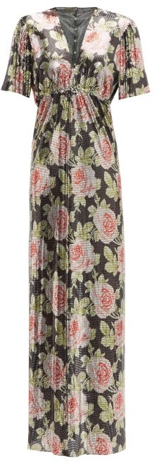 Paco Rabanne Rose-print Chainmail Maxi Dress - Black Pink