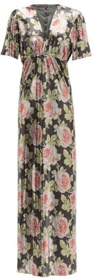Paco Rabanne Rose-print Chainmail Maxi Dress - Womens - Black Pink