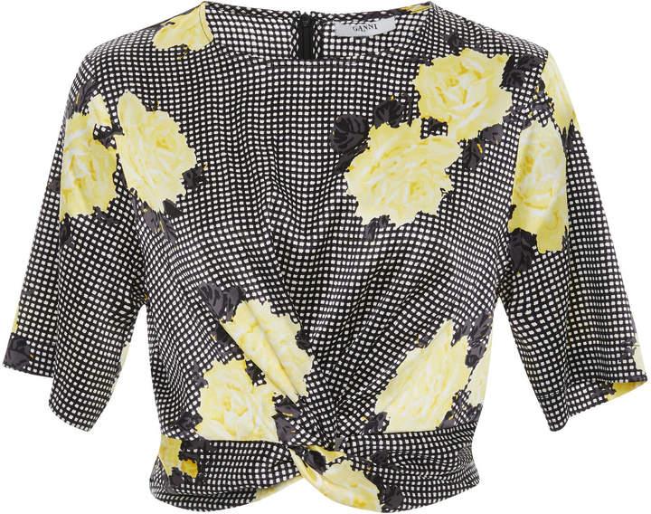 Ganni Floral Tie Front Silk-Blend Crop Top