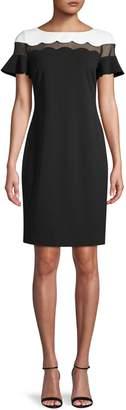 Karl Lagerfeld Paris Short-Sleeve Scalloped Sheath Dress