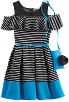 Knitworks Girls 7-16 Knit Works Striped Cold-Shoulder Skater Dress with Crossbody Purse