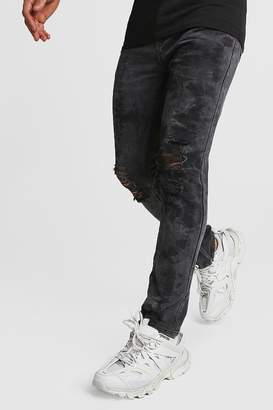 boohoo Distressed Washed Ankle Zip Skinny Jeans