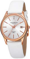 Akribos XXIV Womens Silver-Tone Dial White Leather Strap Watch