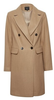 Dorothy Perkins Womens Camel Double Breasted Tailored Coat