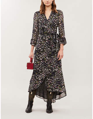 Ganni Floral-pattern flared-skirt crepe midi dress