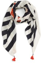 Tory Burch Women's Nautical Logo Oblong Wool Scarf