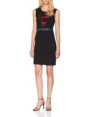 Love Moschino Women's Sleeveless Sheath Dress with Logo Embroidery Black C74, 12 (Size: )