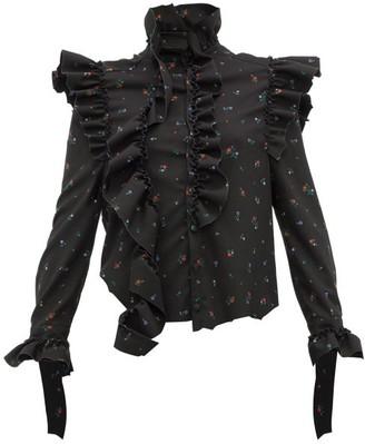 Vetements Ruffle-trim Floral-print Blouse - Black Multi