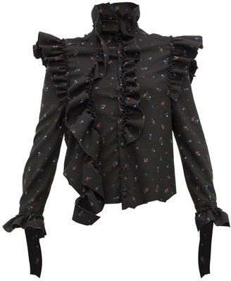 Vetements Ruffle-trim Floral-print Blouse - Womens - Black Multi