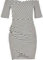 River Island Womens RI Plus black stripe bardot dress