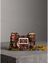 Burberry The Ruffle Buckle Bag in Snakeskin, Ostrich and Check, Brown
