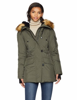 S13 Women's Eskimo Thigh Length Down Parka with Faux Fur Hood