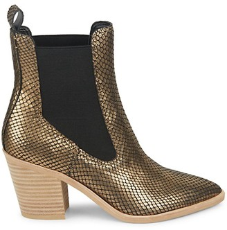 Dolce Vita Sabil Metallic Snake-Embossed Leather Chelsea Boots