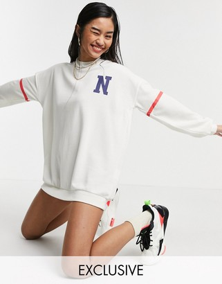 Noisy May exclusive NYC collegiate oversized sweater in white