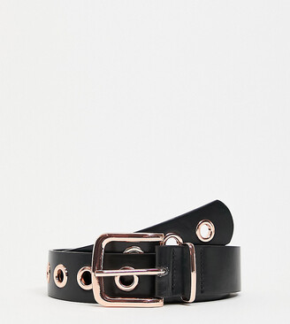 My Accessories London Exclusive waist and hip jeans belt in black with rose gold eyelets