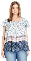 Eyeshadow Women's Woven Square Neckline Printed Top with Tassel