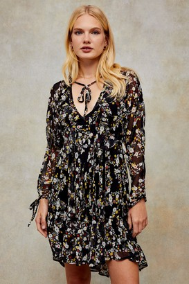 Topshop Floral Print V Neck Ruffle Mini Dress