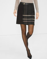 White House Black Market Plaid-Panel Skirt