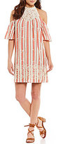 Blu Pepper Stripe Cold-Shoulder Crochet Neck Embroidered Hem Shift Dress