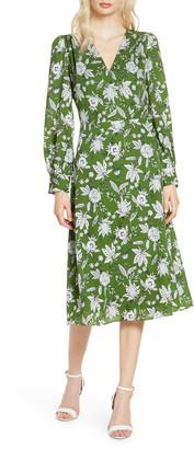 Chelsea28 Floral Long Sleeve Faux Wrap Midi Dress