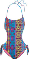 Matthew Williamson Cutout printed swimsuit