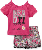 Dollhouse Hot Pink Off-Shoulder Top & Shorts - Toddler & Girls