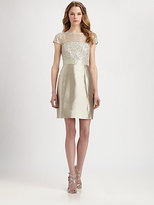 Kay Unger Cap-Sleeve Sequined Dress
