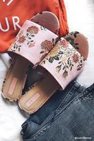 Forever 21 Floral Embroidered Satin Mules