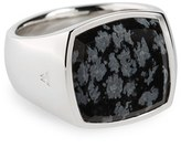 Women's Tom Wood Snowflake Obsidian Cushion Signet Ring