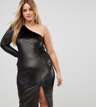 Flounce London Plus Glitter Velvet One Shoulder Midi Dress