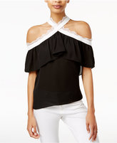 Bar III Cold-Shoulder Ruffled Top, Created for Macy's