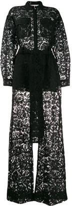 Valentino Floral Lace Belted Jumpsuit