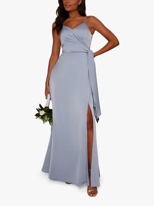 Chi Chi London Sara Wrap Waist Dress, Blue