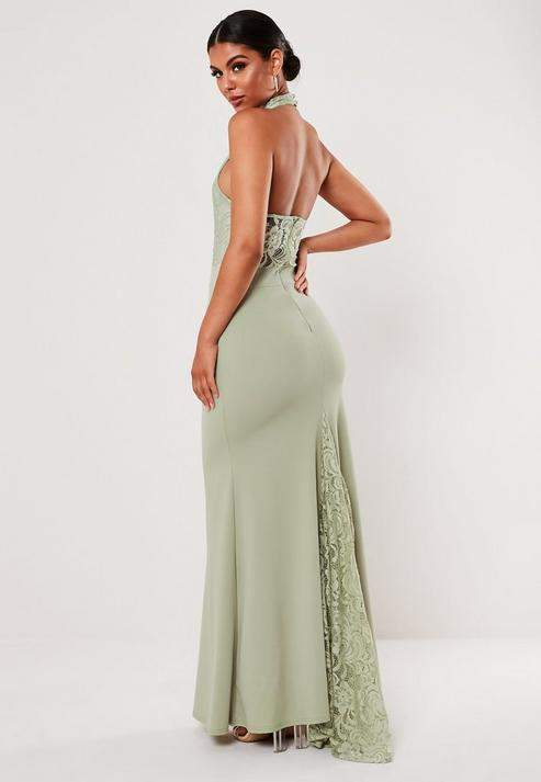 Missguided Bridesmaid Green Lace Halterneck Fishtail Maxi Dress, Green