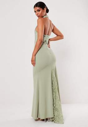 Missguided Green Lace Halterneck Fishtail Maxi Dress