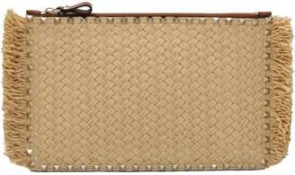 Valentino Garavani Rockstud Woven Clutch Bag