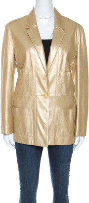 Chanel Gold Leather Blazer L