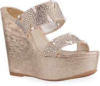 Rene Caovilla Crystal-Embellished Platform Wedge Sandals