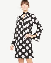 Ann Taylor Polka Dot Tie Neck Dress