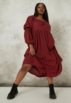 Missguided Plus Size Red Dogtooth Midaxi Smock Dress