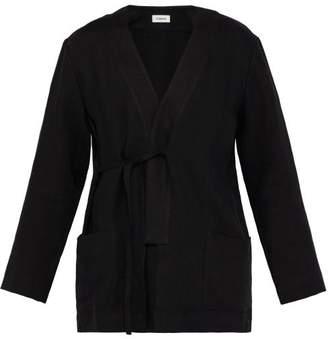 COMMAS Tie-side Linen Robe Shirt Jacket - Mens - Black