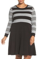 Eliza J Stripe Bodice Knit Fit & Flare Dress (Plus Size)