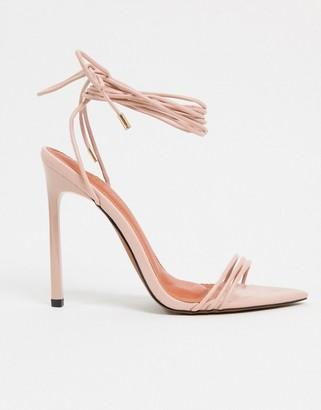 ASOS DESIGN Nadine tie leg high heeled sandals on pointed insole in beige