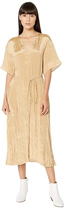 Vince Textured V-Neck Dress (Sun Khaki) Women's Dress
